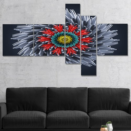 East Urban Home 'Abstract Silver 3D Flower' Graphic Art Print Multi-Piece Image on Canvas