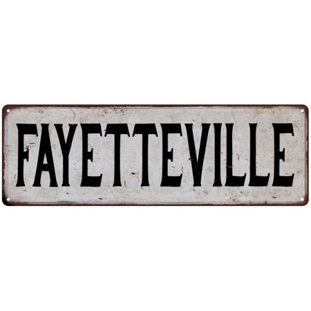 FAYETTEVILLE Vintage Look Rustic Metal Sign Chic City State Retro 6186077