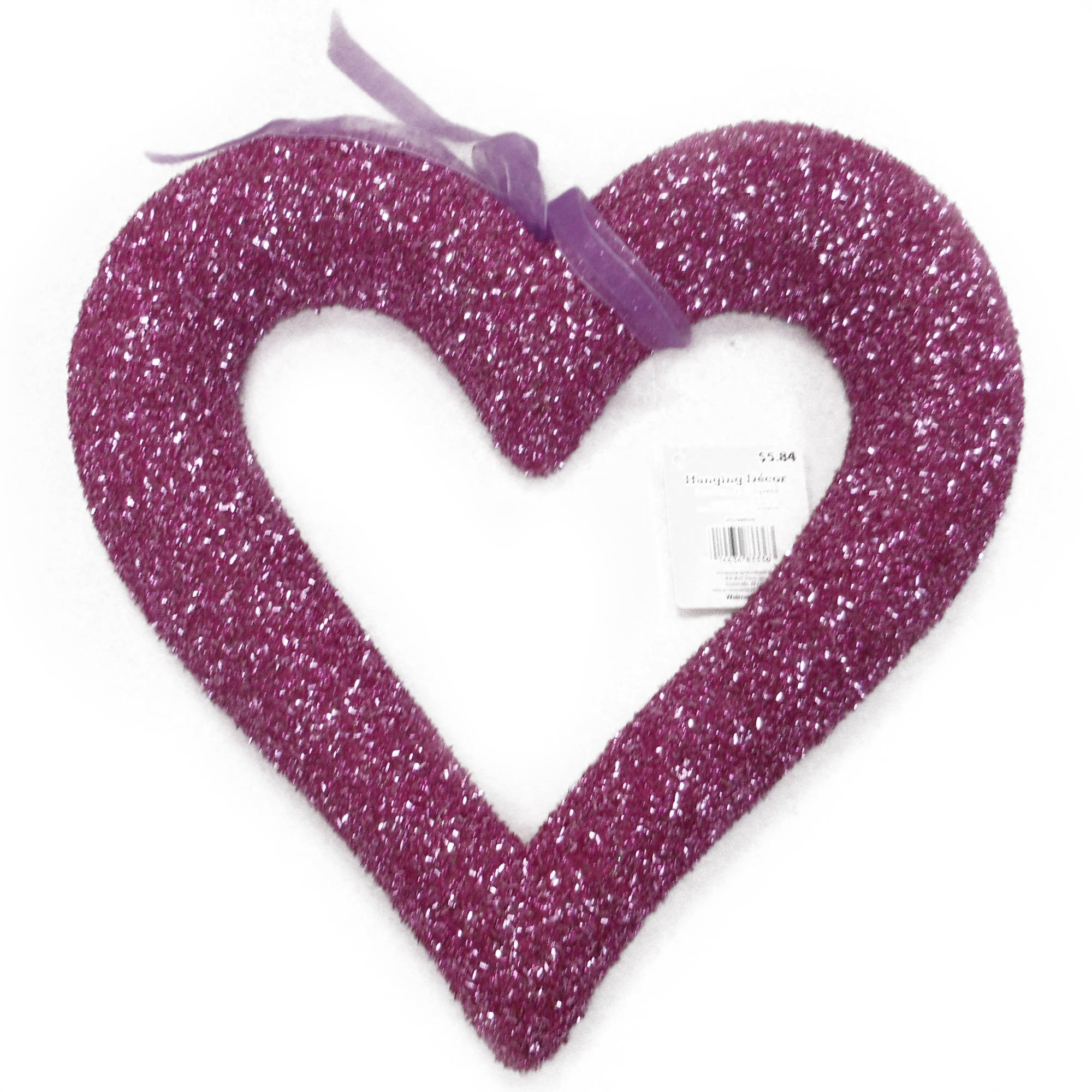 Large Tinsel Heart, Pink