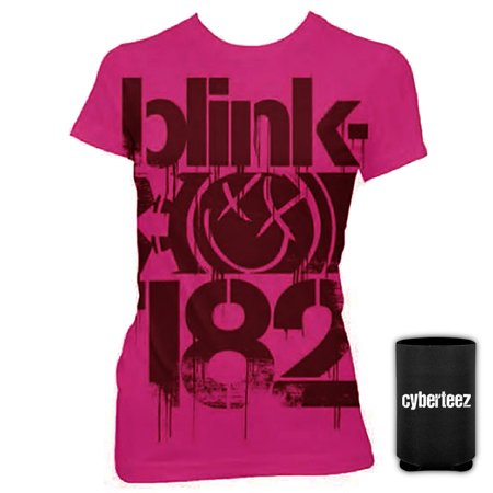 Blink 182 Halloween Shirt (Blink 182 T-Shirt Smiley Face Logo 3 Bars Women's Girls PINK T-Shirt + Coolie)