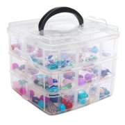 3 Tier Portable Multiple Compartment Clear Transparent Supply Storage Container Bin w/ Divider Trays