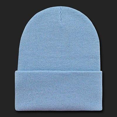 f1e6aca6 Light Blue Knit Beanie Hat Cap Skull Snowboard Winter Warm Ski Hats Cuff  Beanies