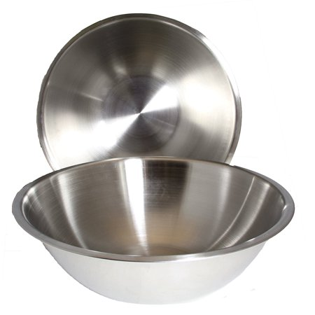 Large Stainless Steel Mixing Bowl (SET OF 2 - Large 16 Inch Wide Stainless Steel Flat Rim Flat Base Mixing Bowl )