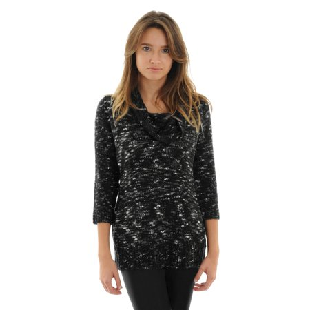 Womens Black and White Sweater Cowl Neck 3/4 Sleeves Gray Knit Pullover Sweater
