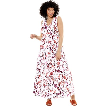 Woman Within - Plus Size Stretch Knit Surplice Dress In Prints & Solids -  Walmart.com