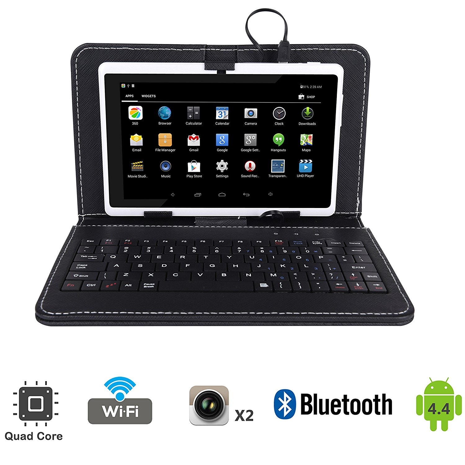 "Tagital 7"" Quad Core Android 4.4 Tablet PC, Dual Camera, Play Store Pre-installed, Bundled with Keyboard"