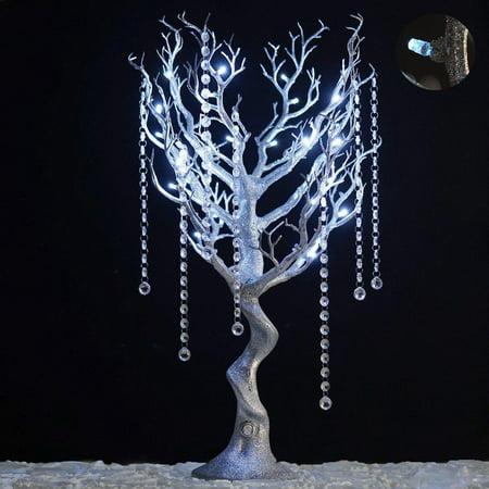 Battery Operated Glittered Manzanita Tree Silver With LED + 8pcs Acrylic Chains