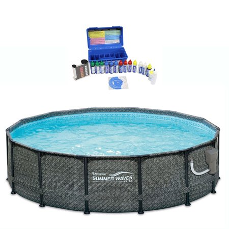 Summer Waves 14 Foot Above Ground Pool Set w/ Taylor Pool Water Test Kit