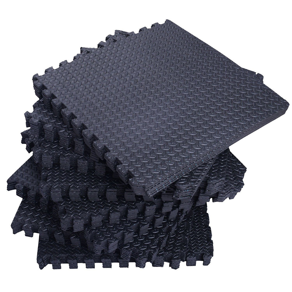 Zimtown 42 Pcs/54 Pcs Interlocking Foam Floor Tiles, 168Sq - 216Sq Eva Black Puzzle Exercise Mat, Protective Flooring Pad Gym Equipment Cushion, for Exercising, Yoga, Kids, Babies, Playroom, Camping