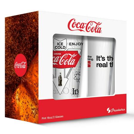 Coca Cola Classic Logos Pub Glass   Set Of 2