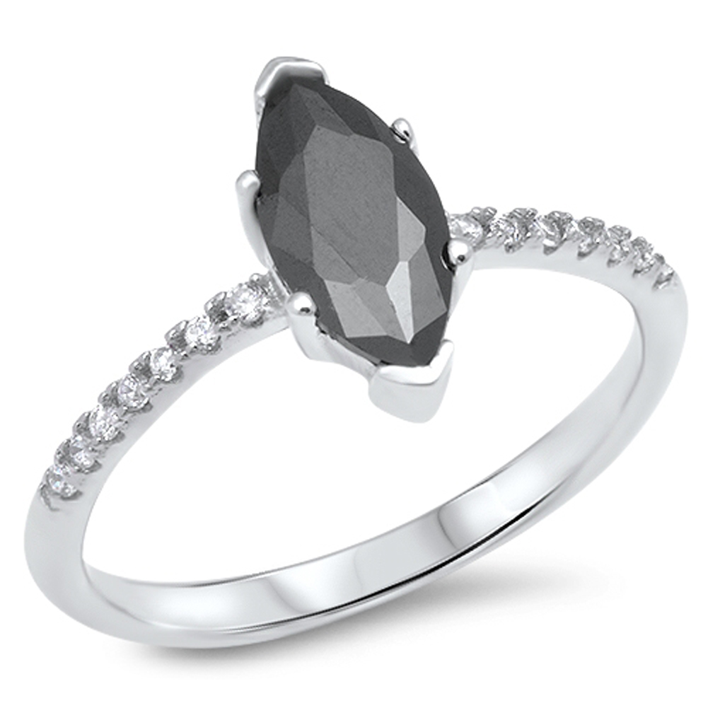 Solitaire Marquise Black Simulated CZ Wedding Ring ( Sizes 4 5 6 7 8 9 10 ) New 925 Sterling Silver Band Rings by Sac Silver (Size 9)