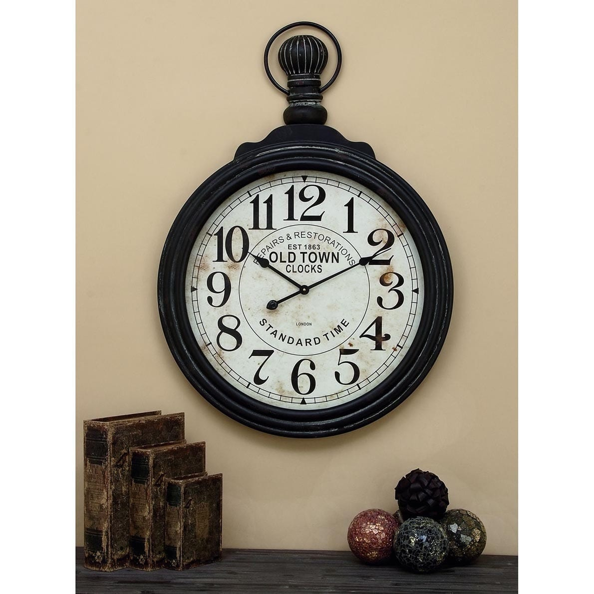 Decmode 39 X 28 Wooden Pocket Watch Wall Clock Black And White