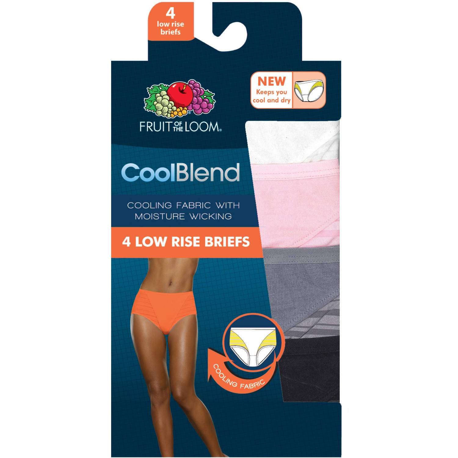 Fruit of the Loom Ladies' CoolBlend Low Rise Briefs, 4-pack Panties