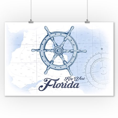 Key West  Florida   Ship Wheel   Blue   Coastal Icon   Lantern Press Artwork  9X12 Art Print  Wall Decor Travel Poster