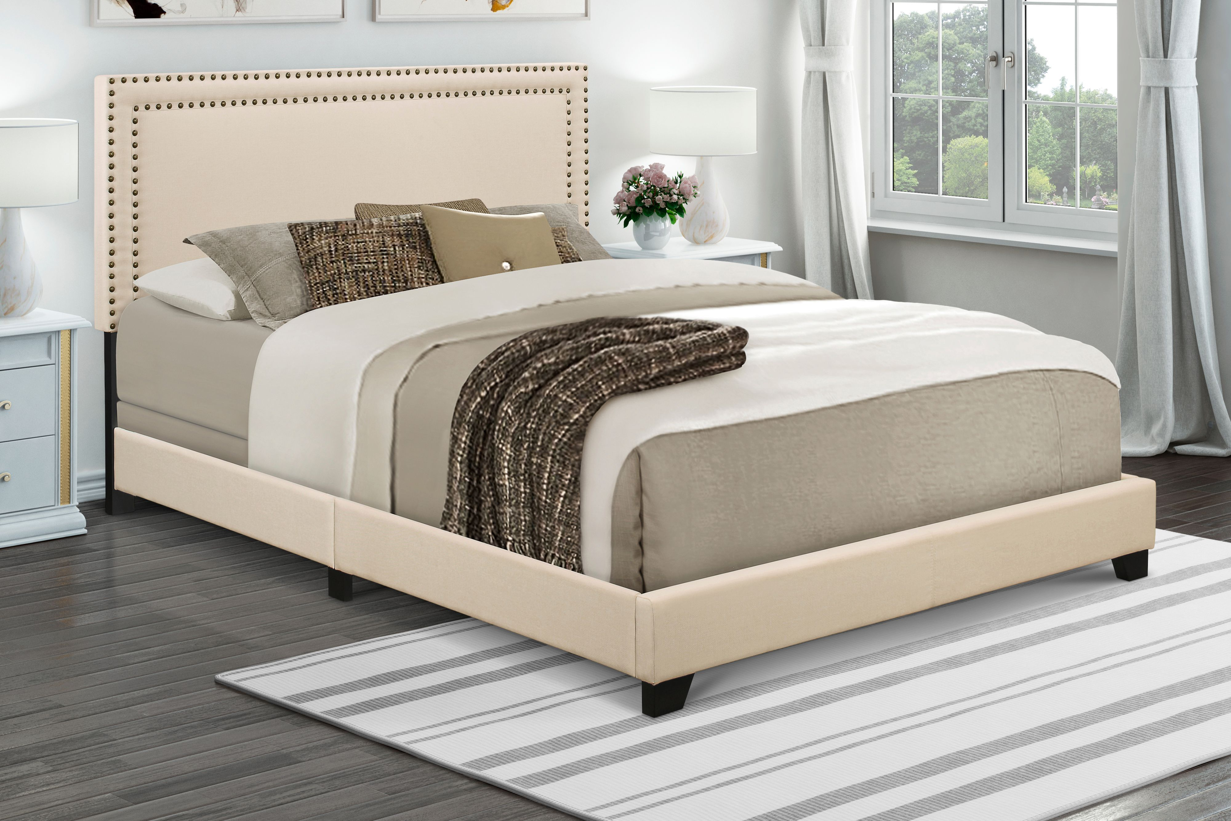 Home Meridian Cream Upholstered Queen Bed with Nail Head Trim by Home Meridian International Inc