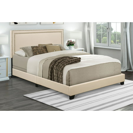 - Home Meridian Cream Upholstered Queen Bed with Nail Head Trim