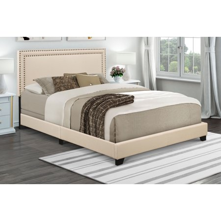 Home Meridian Cream Upholstered Queen Bed with Nail Head