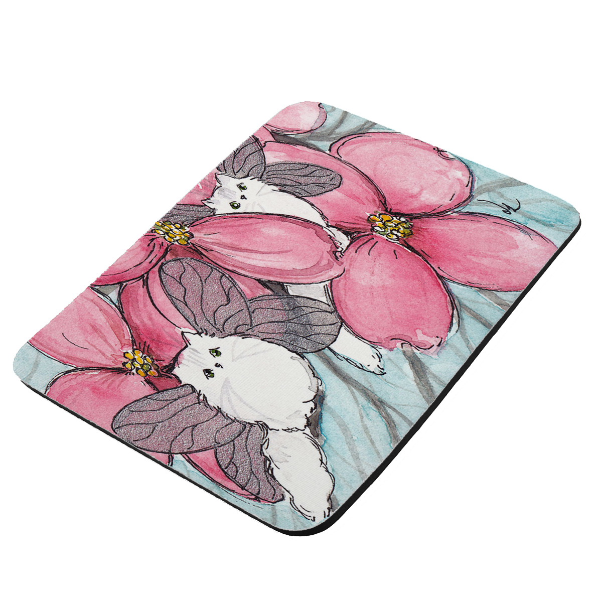 Chinchilla Silver Persian Kitty Fairies with Pink Dogwood Cat Art by Denise Every - KuzmarK Mousepad / Hot Pad / Trivet