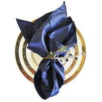 "Wedding Linens Inc. 10 pcs 20""x 20"" Premium Pintuck Taffeta Table Linen Napkins for Party Wedding Reception Catering Dining Home Restaurants - Navy Blue"