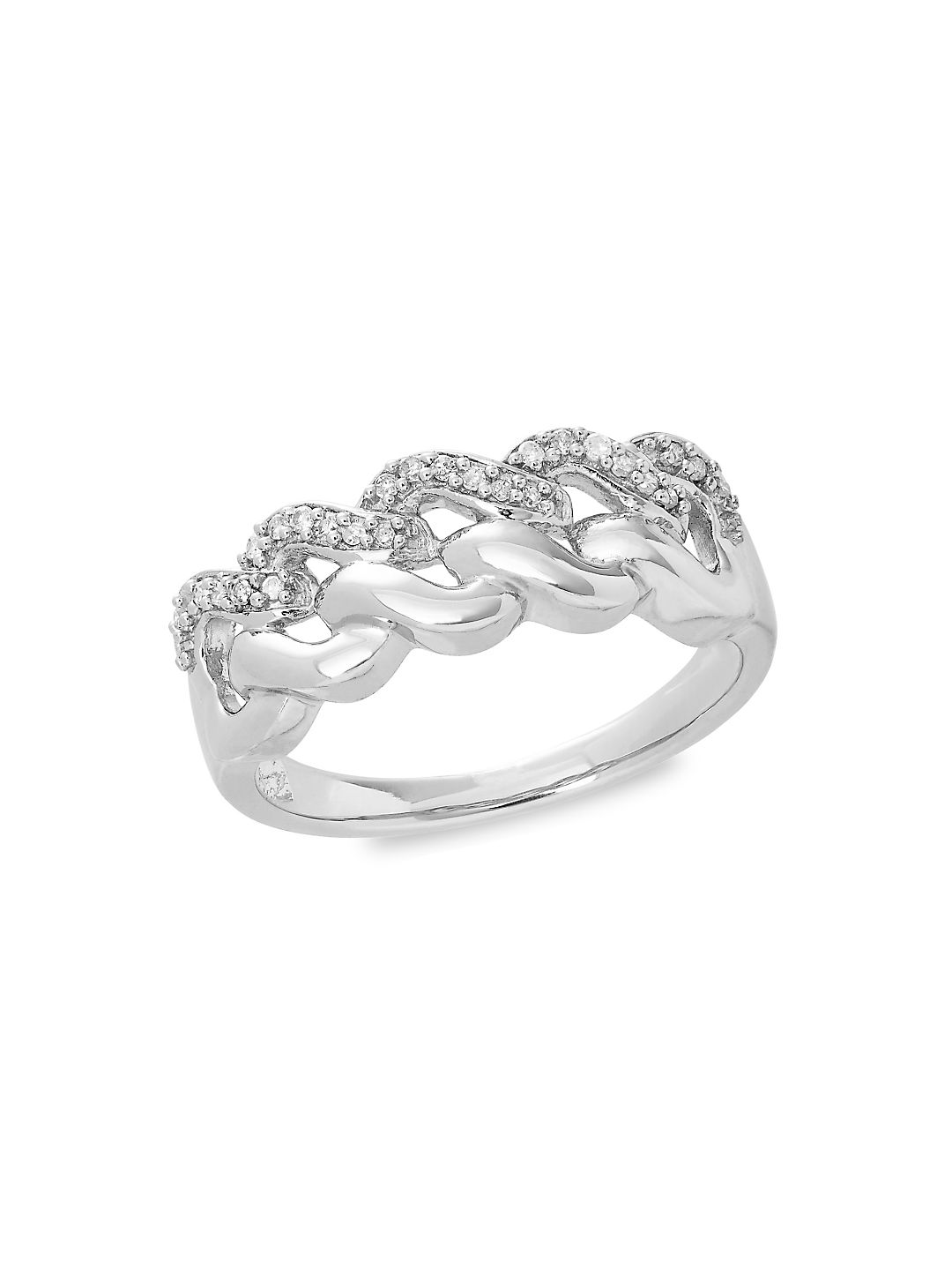 Cut-Out Sterling Silver & Diamond Ring