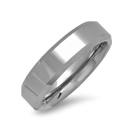 6mm Beveled Edge Plain Comfort Fit Tungsten Carbide Wedding Band ( Available Ring Sizes 8-12 - Plain 6mm Tungsten Carbide Ring
