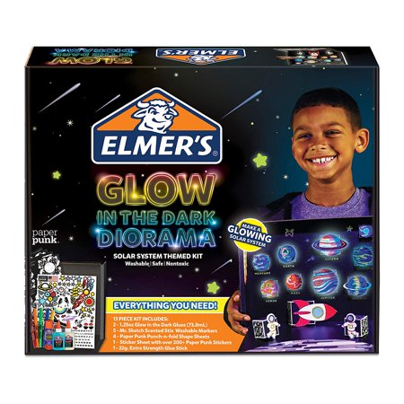 Elmer's Glow in the Dark Solar System Diorama Kit: Supplies Includes Glow in the Dark Glue, Mr. Sketch Scented Markers, Paper Punk Planets, Stars Sticker and Shape Sheets Sticker Art Shapes