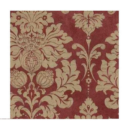 MD29421 Damask Wallpaper, Rust, Size of each double roll is 20.5 inches x 33