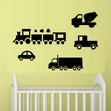 TRUCKS CAR AND TRAIN ~ WALL DECAL 5 TOTAL 6