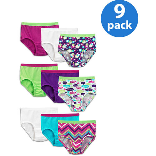 Fruit of the Loom Girls' 100% Cotton Brief Panties, 9-Pack