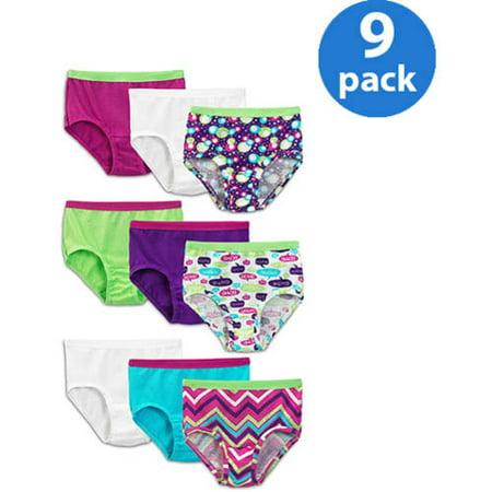 Fruit of the Loom Girls' 100% Cotton Brief Panties 9 Pack ...