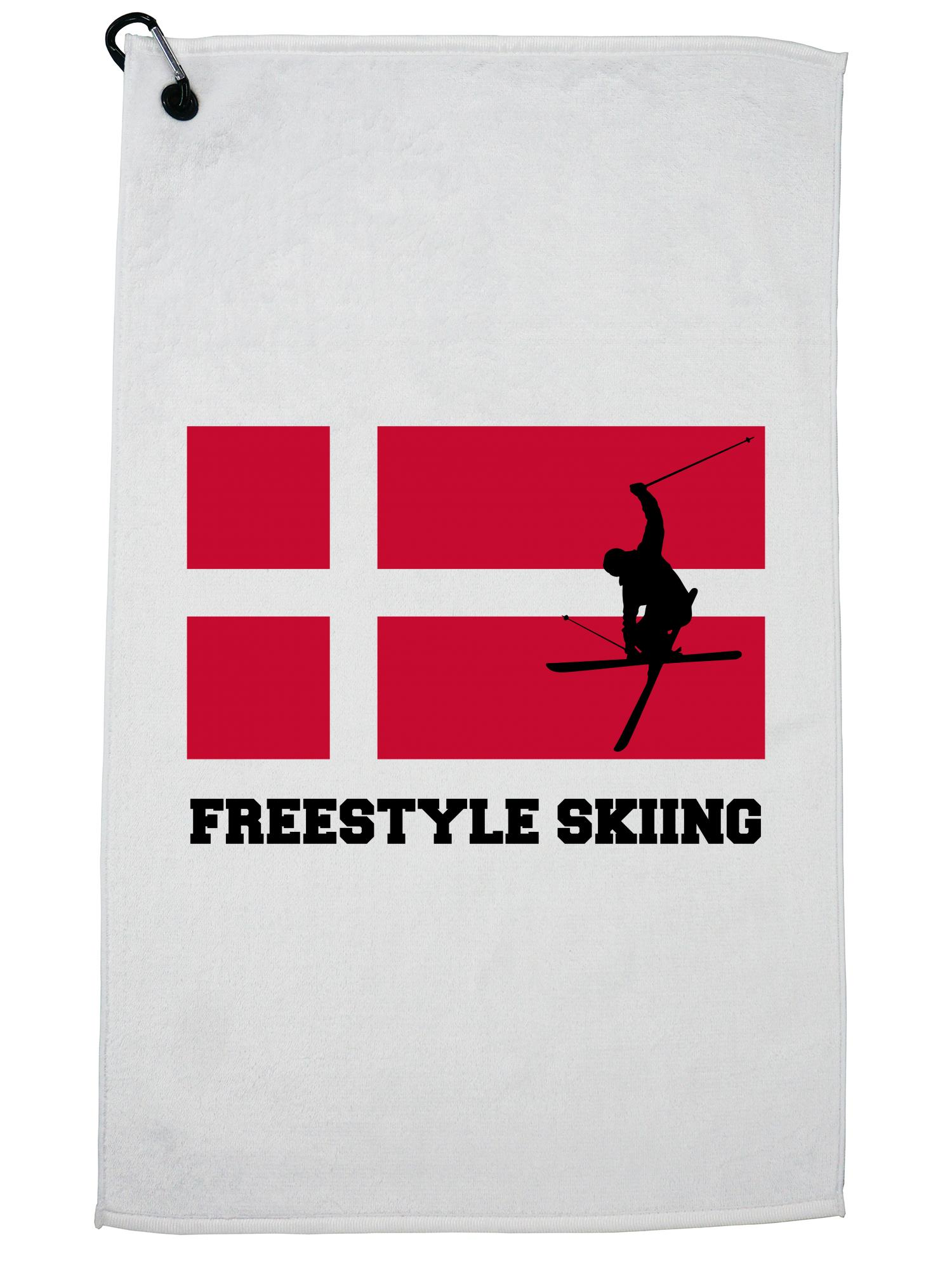 Denmark Olympic Freestyle Skiing Flag Silhouette Golf Towel with Carabiner Clip by Hollywood Thread