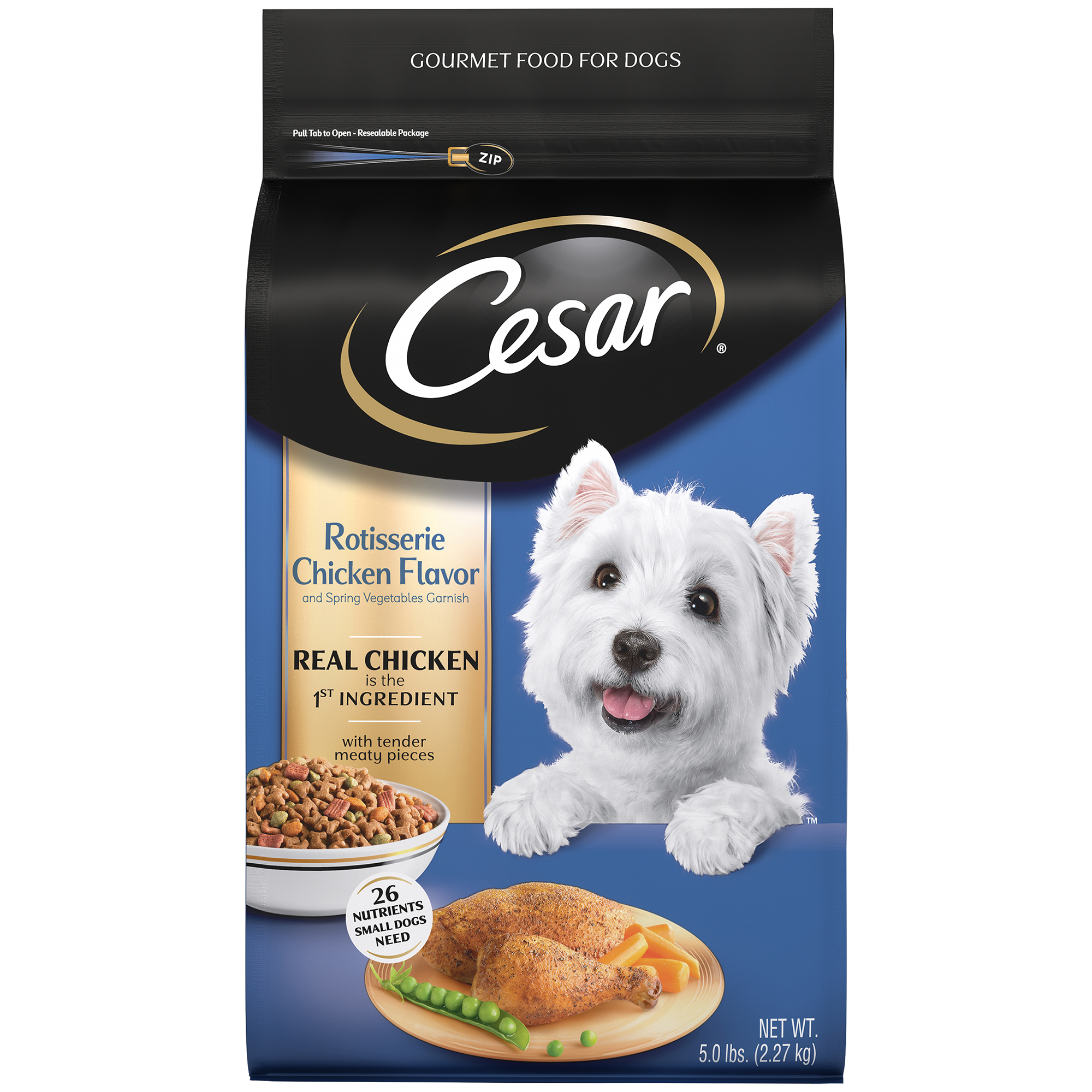 CESAR Small Breed Dry Dog Food Rotisserie Chicken Flavor with Spring Vegetables Garnish, 5 lb. Bag