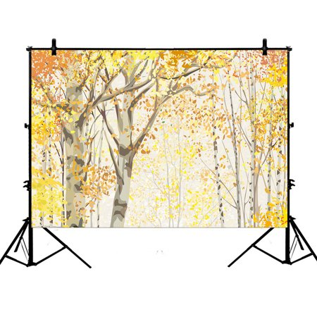 YKCG 7x5ft Red Yellow Birch Tree of Life Autumn Leaves Birch Photography Backdrops Polyester Photography Props Studio Photo Booth Props