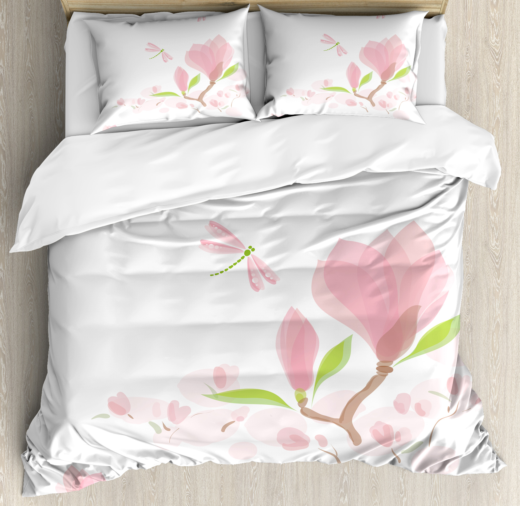 Dragonfly Queen Size Duvet Cover Set, Magnolia Branches a...
