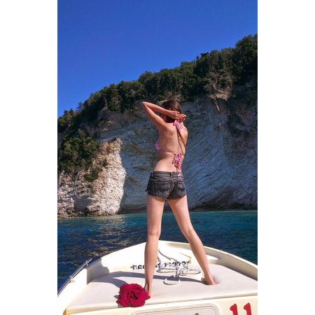 LAMINATED POSTER Woman Girl Boat Bikini Attractive Ocean Beach Poster Print 24 x 36