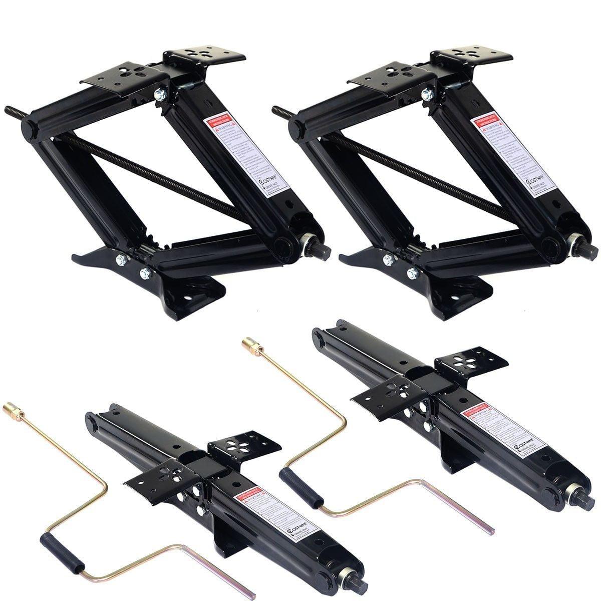 "4 PC 5000lb 4""- 24"" RV Camper Scissor Leveling Jacks Trailer Stabilizer w/Handle"