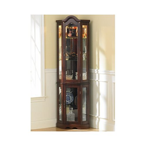 Wildon Home Kennedy Mahogany Lighted Corner Curio Cabinet