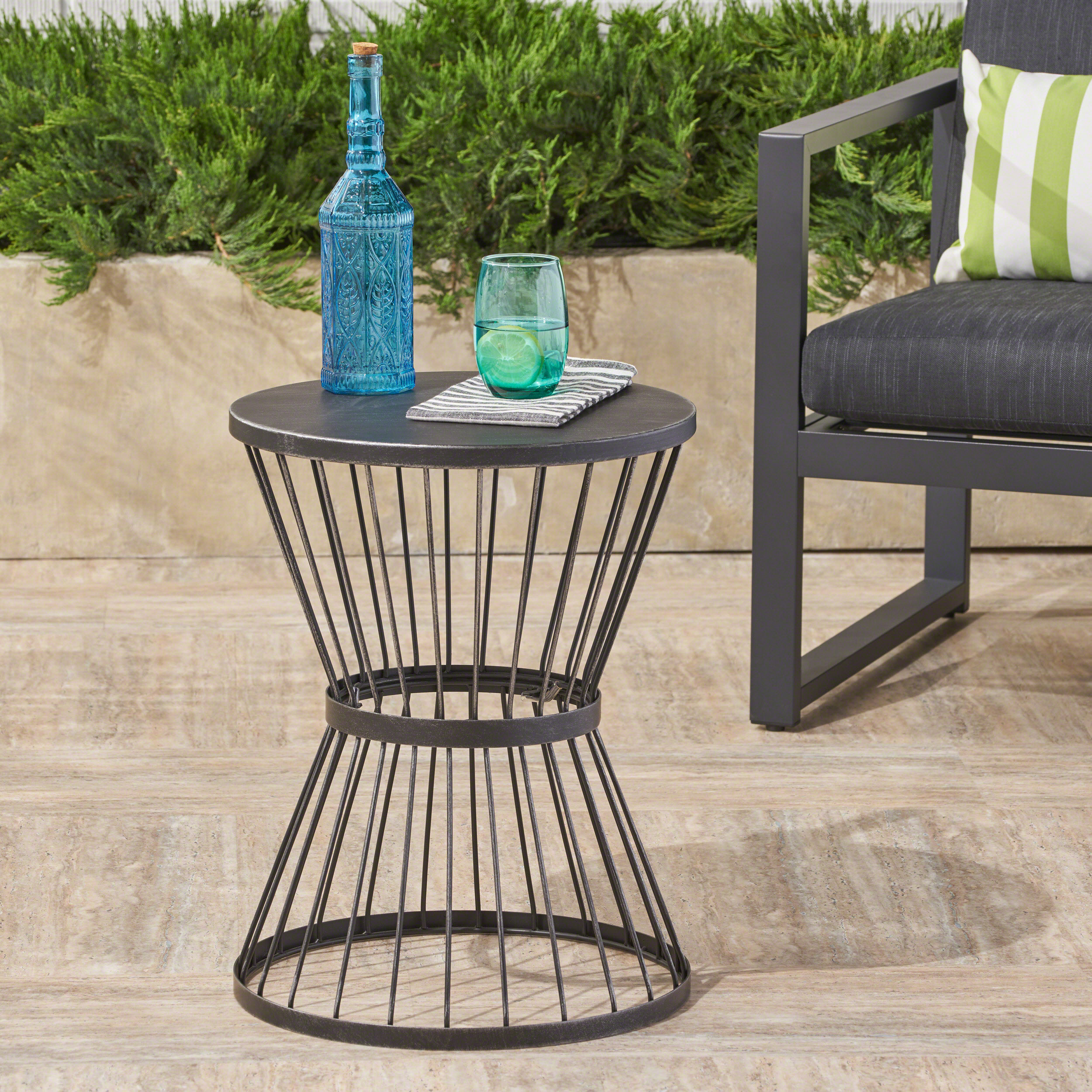 Picture of: Fern Outdoor 16 Inch Matte Black Iron Side Table Walmart Com Walmart Com