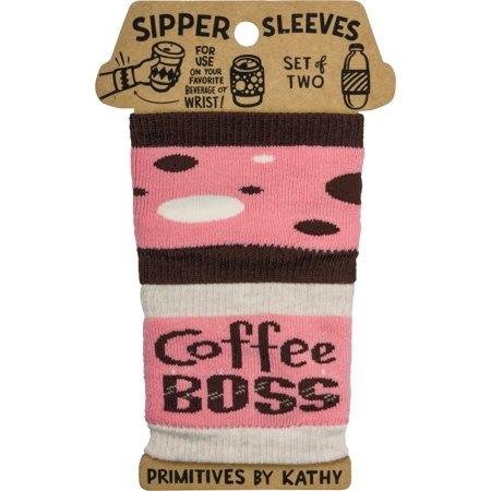 Coffee Boss Sipper Sleeves Travel Cup or Water Bottle Cozy Covers Set of 2 (Cozy Coffee)