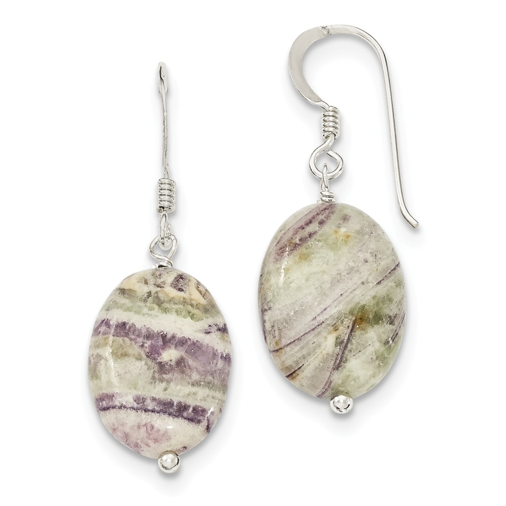 Sterling Silver Light Charoite Earrings (1.2IN x 0.5IN )