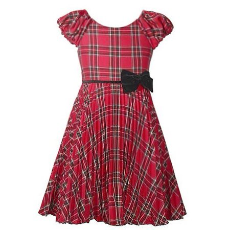 Bonnie Jean Little Girls Red Plaid Pattern Bow Accent Christmas Dress](Bonnie Jean Halloween Dress)