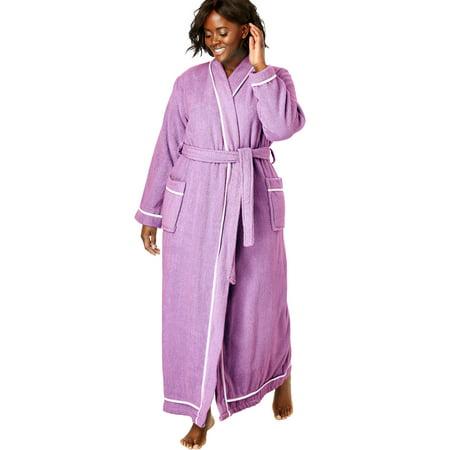 Dreams & Co. Plus Size Spa Terry Long Wrap - Spa Wrap Robe