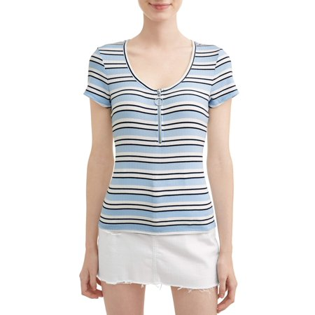 Front Zip Skirt (No Boundaries Juniors' Striped Zip Front Rib Knit Short Sleeve T-Shirt)