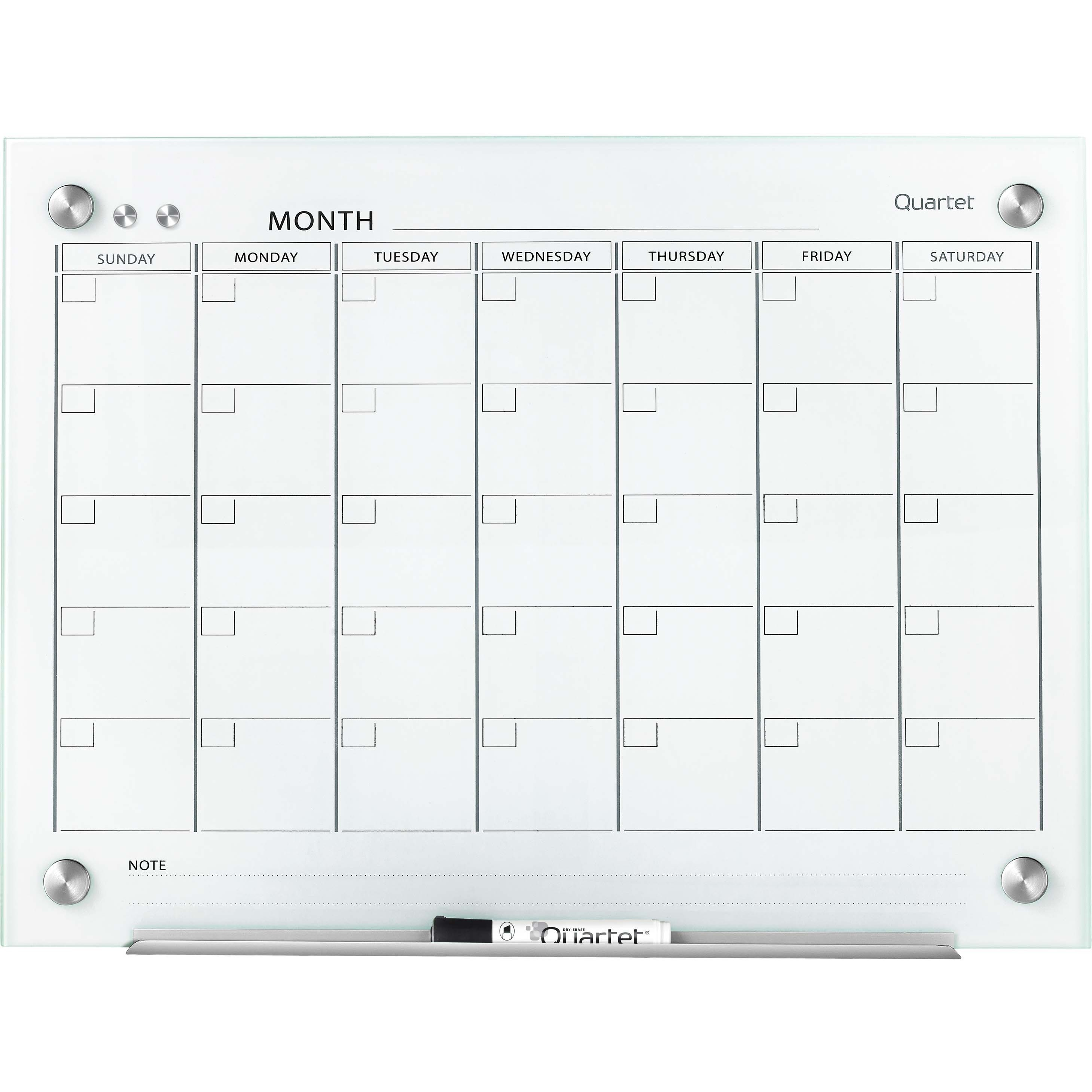 Quartet, QRTGC2418F, Infinity™ Glass Magnetic Calendar Board, 1 Each, White