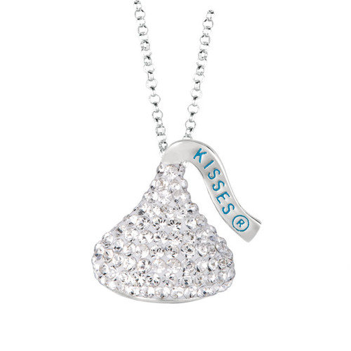 Hershey's Kiss Sterling silver & White Crystals Medium Flat Back Chocolate's Kiss Pendant