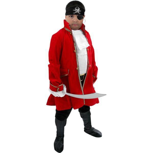 Child's Velvet Pirate Captain Costume~Medium 8-10   Red by
