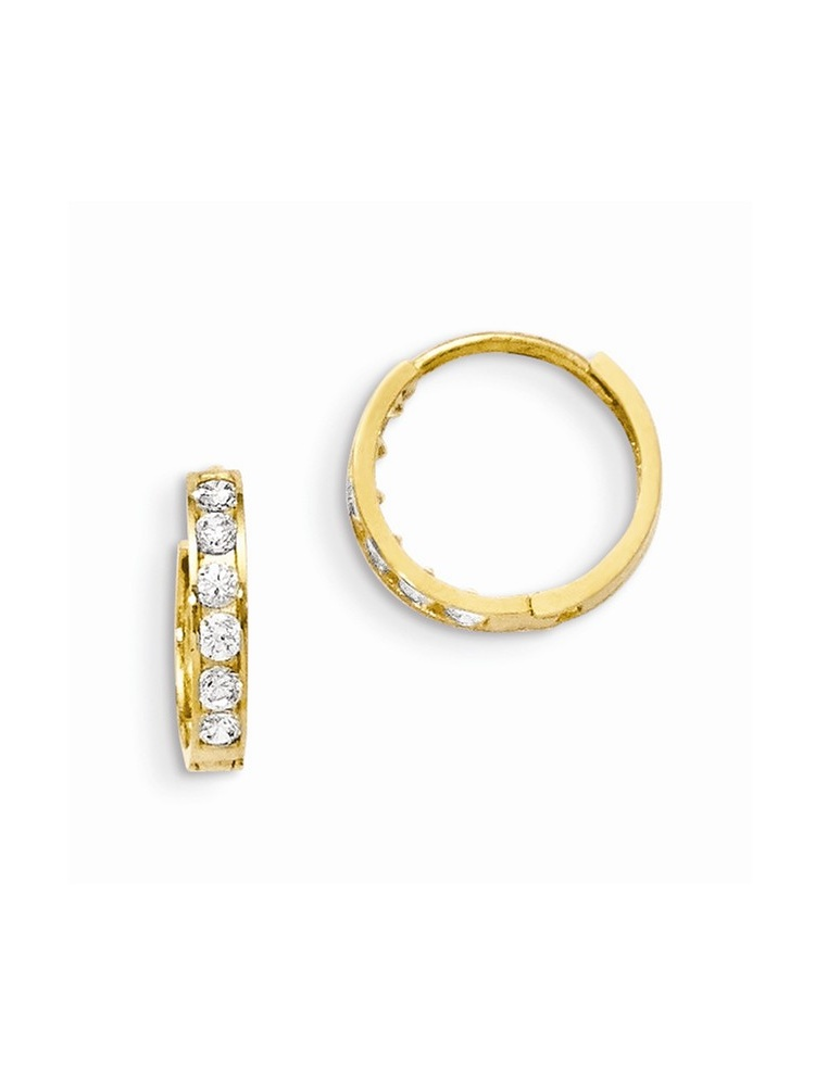 Mia Diamonds 14k Yellow Gold Madi K CZ Hinged Hoop Earrings