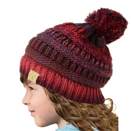 ebbaefcbbdbbe SK Hat Shop - Kids CC Ages 2-7 PomPom Chunky Thick Stretchy Knit Slouch  Beanie Cap Hat - Walmart.com