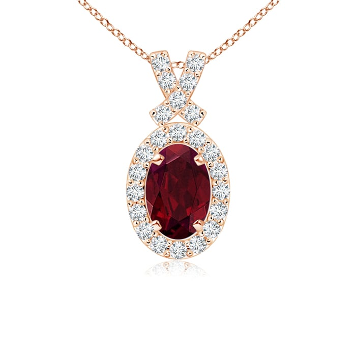 January Birthstone Pendant Necklaces 0.55 carat Oval Cut Prongs Set Garnet Pendant Necklace With Accent Diamonds in 14K... by Angara.com