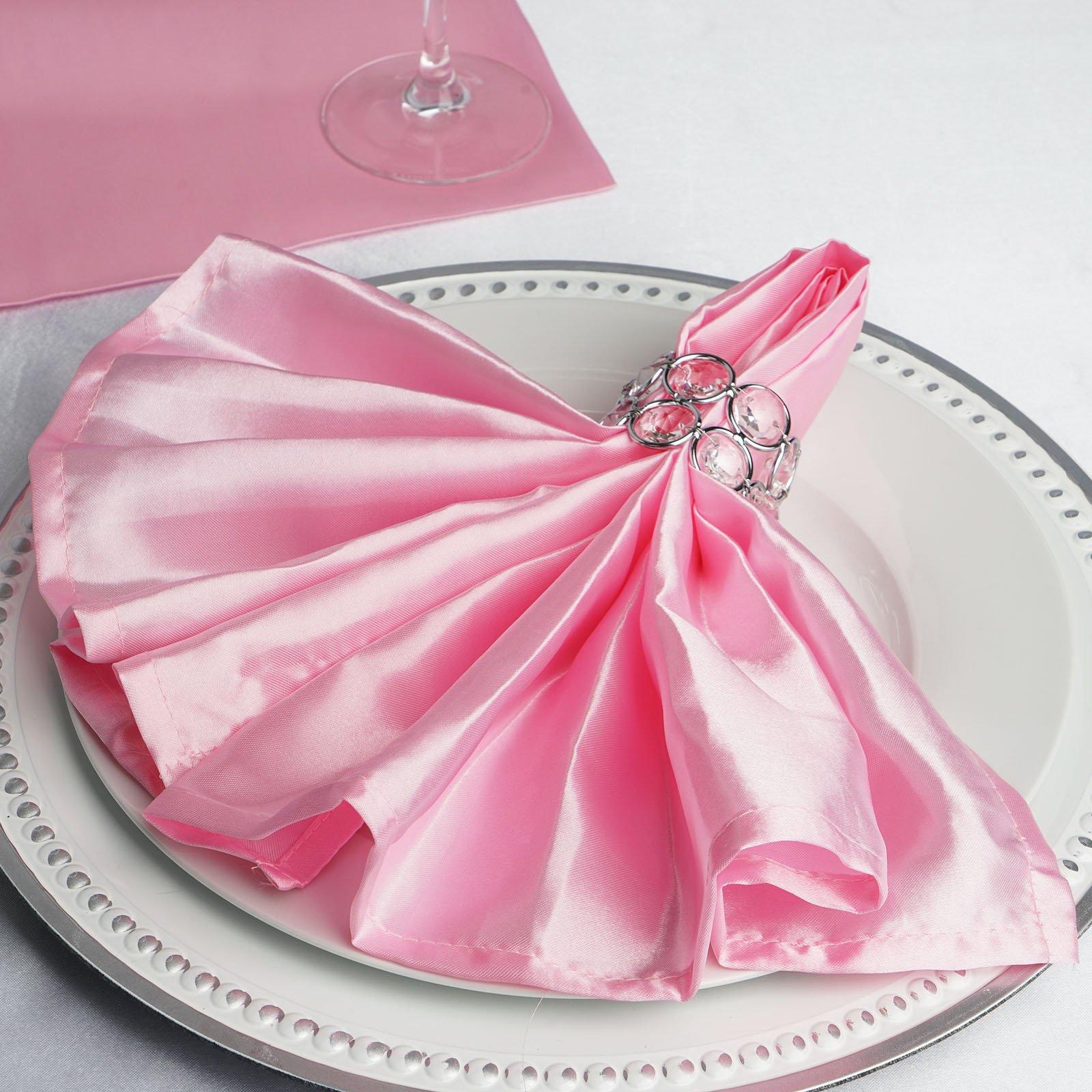 "Efavormart Pack of 5 Premium Washable 20""x20""  SATIN Linen Napkins For Wedding Birthday Restaurant Party Tableware Decoration"